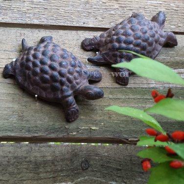 Set of 2 Rustic Metal Turtle Statue Figure Garden Animal Decor Flower Bed Yard Art Prop