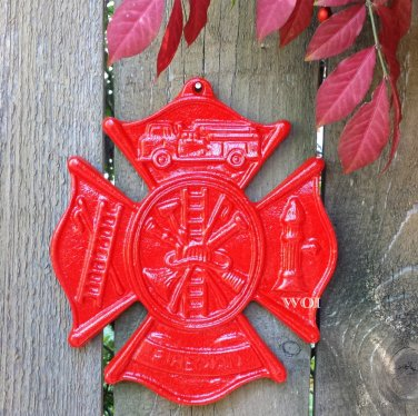 Red Fire Fighter Commemorative Plaque Fireman Collage Insignia Sculpture Honorable Wall Monument