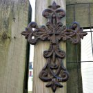 Cast Iron Victorian Antique Style Carved Fleur De Lis Cross Divine Wall Plaque Spiritual Sculpture