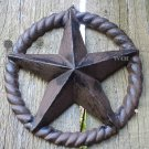 Distressed Cast Iron Rustic Texas Star Plaque Rope Wreath Country Western Sculpture Fence Prop