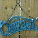 Blue Distressed Cast Iron Cowboys Emblem Welcome Sign Hanging Chain Patriotic Heritage Plaque