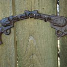 Distressed Western Six Shooter Cross Gun Metal Hanger Key Hook Wall Sculpture Pistol Guns