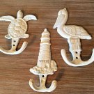3 Shabby Nautical Lighthouse Marine Life Pelican Sea Turle Wall Art Statue Sculpture Hooks
