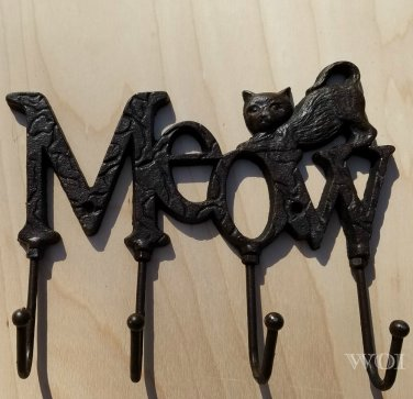 Rustic Kitty Cat Kitten Plaque Kitchen Utility Hook Utensil Hanger Metal Rack Distressed