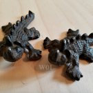 2 Rustic Horned Lizard Dragon Reptile Collectible Figure Garden Animal Figurine Art Statue