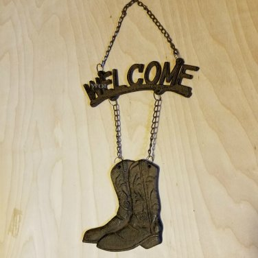 Distressed Metal Rustic Welcome Sign Cowboy Boot Chain Link Door Hanger Western Prop Country