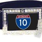 I-10 INTERSTATE 10 SHIELD SYMBOL CZ GLOW RHINESTONE BELT BUCKLE