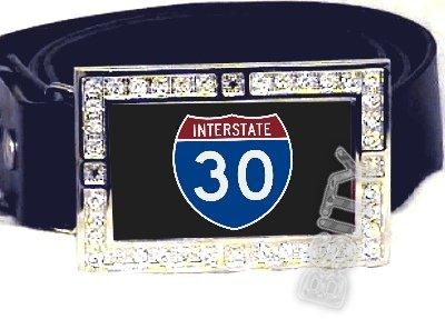 I-30 INTERSTATE 30 SHIELD SYMBOL CZ GLOW RHINESTONE BELT BUCKLE
