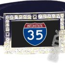 I-35 INTERSTATE 30 SHIELD SYMBOL CZ GLOW RHINESTONE BELT BUCKLE