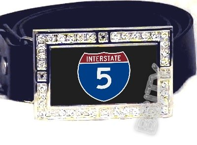 I-5 INTERSTATE 5 SHIELD SYMBOL CZ GLOW RHINESTONE BELT BUCKLE
