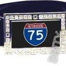 I-75 INTERSTATE 75 SHIELD SYMBOL CZ GLOW RHINESTONE BELT BUCKLE