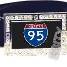 I-95 INTERSTATE 95 SHIELD SYMBOL CZ GLOW RHINESTONE BELT BUCKLE