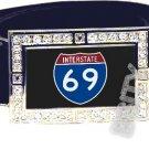 I-69 INTERSTATE 69 SHIELD SYMBOL CZ GLOW RHINESTONE BELT BUCKLE
