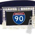 I-90 INTERSTATE 90 SHIELD SYMBOL CZ GLOW RHINESTONE BELT BUCKLE