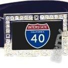 I-40 INTERSTATE 40 CA SHIELD SYMBOL CZ GLOW RHINESTONE BELT BUCKLE