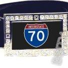 I-70 INTERSTATE 70 SHIELD SYMBOL CZ GLOW RHINESTONE BELT BUCKLE