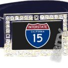 I-15 INTERSTATE 15 CALIFORNIA SHIELD SYMBOL CZ GLOW RHINESTONE BELT BUCKLE