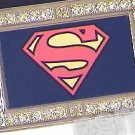 SUPERMAN SYMBOL ICED OUT BLING CZ CHARM BELT BUCKLE