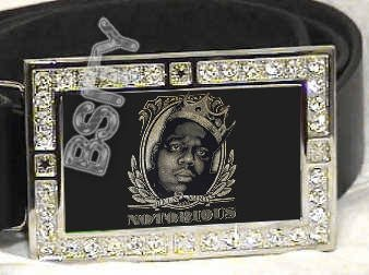 BIGGIE SMALLS CROWN ICED OUT BLING CZ CHARM BELT BUCKLE