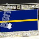 NAURU NAURUAN FLAG BLING ICED OUT CZ -FREE BELT- BUCKLE
