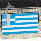 GREECE GREEK FLAG BLING DARK CZ -FREE BELT- BUCKLE