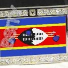 SWAZILAND SWAZI FLAG BLING ICED OUT CZ -FREE BELT- BUCKLE