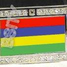 MAURITIUS Mauritian FLAG BLING ICED OUT CZ -FREE BELT- BUCKLE