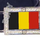 BELGIUM BELGIAN FLAG BLING DARK CZ -FREE BELT- BUCKLE