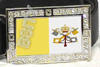 VATICAN CITY CATHOLIC FLAG BLING ICED OUT CZ -FREE BELT- BUCKLE