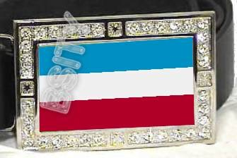 YUGOSLAVIA FLAG BLING ICED OUT CZ -FREE BELT- BUCKLE