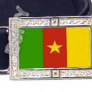CAMEROON FLAG ICED OUT CZ BLING BUCKLE FREE BELT