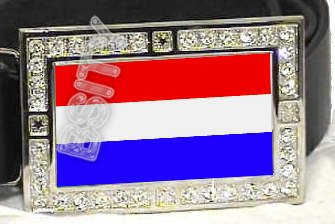 LUXEMBOURG LUXEMBOURGISH FLAG BLING DARK CZ -FREE BELT- BUCKLE