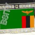 ZAMBIA ZAMBIAN FLAG BLING ICED OUT CZ -FREE BELT- BUCKLE