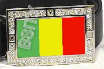 MALI MALIAN FLAG BLING ICED OUT CZ -FREE BELT- BUCKLE