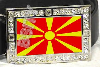 MACEDONIA Macedonian FLAG BLING ICED OUT CZ -FREE BELT- BUCKLE