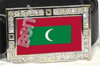 MALDIVES Maldivian FLAG BLING ICED OUT CZ -FREE BELT- BUCKLE