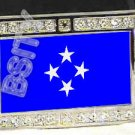 MICRONESIA MICRONESIAN FLAG BLING ICED OUT CZ -FREE BELT- BUCKLE