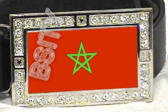 MOROCCO MOROCCAN FLAG BLING ICED OUT CZ -FREE BELT- BUCKLE