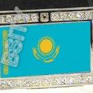Kazakhstan Kazakstan FLAG BLING DARK CZ -FREE BELT- BUCKLE