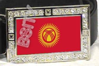 Kyrgyzstan Kyrgyz FLAG BLING DARK CZ -FREE BELT- BUCKLE