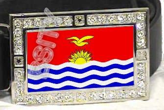 KIRIBATI Gilbertese FLAG BLING DARK CZ -FREE BELT- BUCKLE