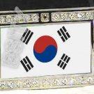 SOUTH KOREA KOREAN FLAG BLING DARK CZ -FREE BELT- BUCKLE