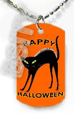 BLACK CAT HALLOWEEN Dog Tag KEY CUTE CHAIN FOR COSTUME