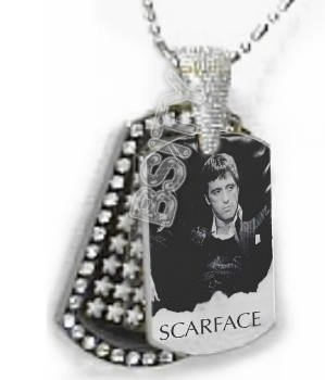 Iced OUT CZ SCARFACE Dog Tag BLING CHARM PENDANT