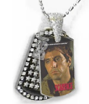 Iced OUT CZ SCARFACE GOOD DAY Dog Tag BLING CHARM PENDANT