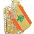 LEBANON Lebanese FLAG GOLD TONE Iced Out CZ BLING Dog Tag