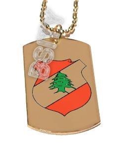 LEBANON LEBANESE EMBLEM FLAG GOLD Dog Tag Dogtag CharM