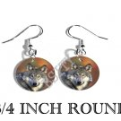 GRAY WOLF PHOTO FISH HOOK CHARM Earrings