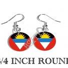 Antigua Barbuda Wadadli Flag FISH HOOK CHARM Earrings