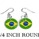 BRAZIL BRAZILIAN Flag FISH HOOK CHARM Earrings